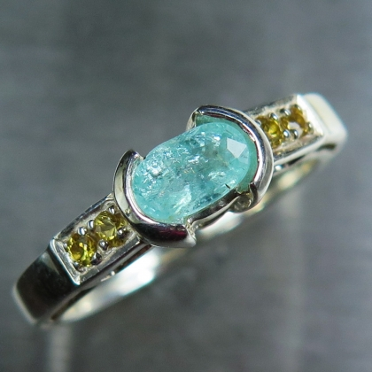 0.55ct Natural paraiba blue tourmaline Silver/ Gold / Platinum ring