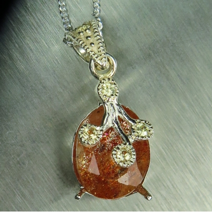 3ct Natural Orange Sunstone &sapphire Silver/ Gold/ Platinum pendant