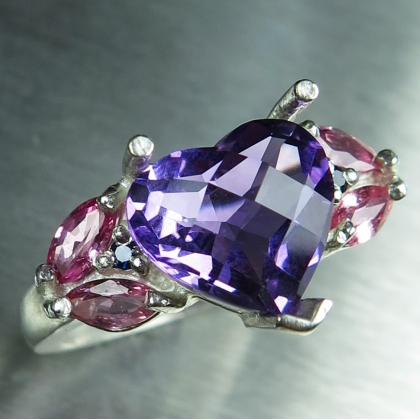 2.9ct Natural heart Amethyst Silver/ 9ct 14k 18k Gold / Platinum ring