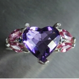 2.65ct Natural heart Amethyst Silver/ ..