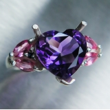 3.2ct Natural heart Amethyst Silver/ 9..