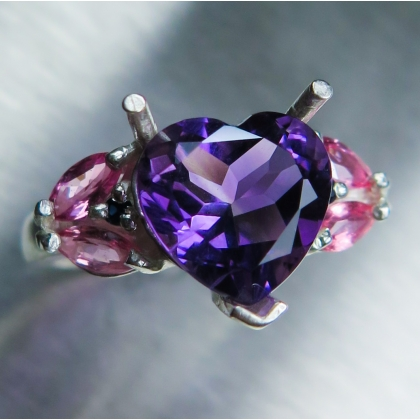 3.2ct Natural heart Amethyst Silver/ 9ct 14k 18k Gold / Platinum ring