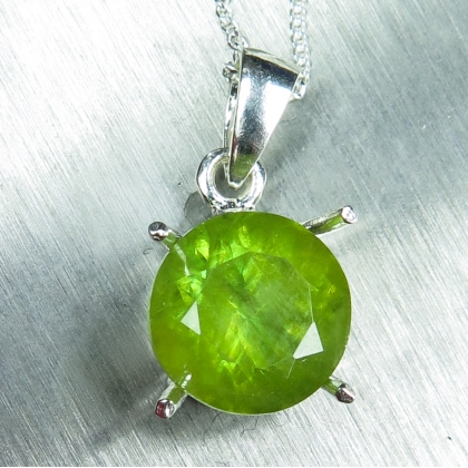 4.55ct Natural Titanite Sphene Silver/ Gold solitaire pendant necklace