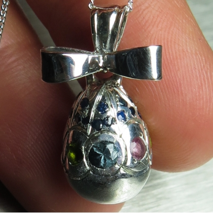 Natural sapphires & tourmalines 925 Sterling silver egg pendant