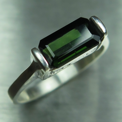 1.4ct Natural forest green 925 Silver /9ct 14k 18k Gold unisex ring
