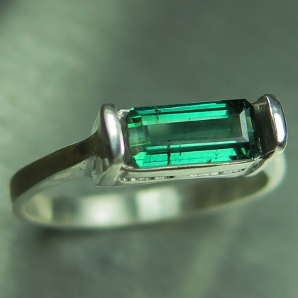 Natural Green with blue hint 925 Silver /9ct 14k 18k Gold unisex ring