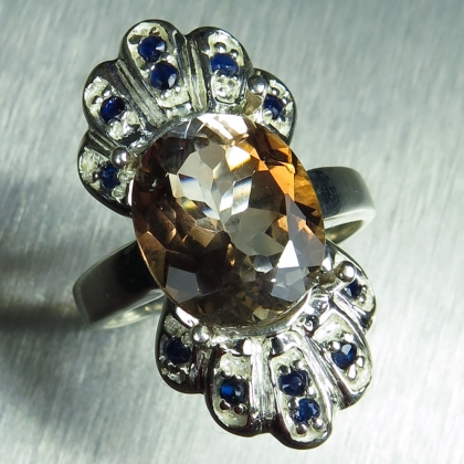 5.8ct Natural Imperial topaz & sapphires Silver/ Gold/ Platinum ring