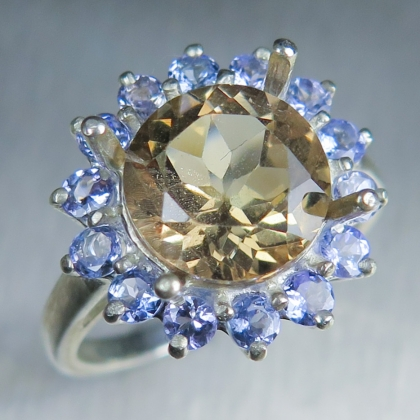 3.5ct Natural Imperial topaz & tanzanite Silver/ Gold/ Platinum ring