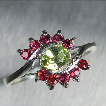 0.3ct Natural Chrysoberyl & sapphires Silver/ Gold / Platinum ring