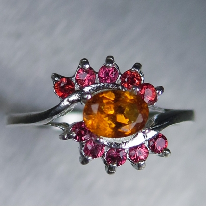Rare Natural orange Clinohumite Silver/ Gold / Platinum ring