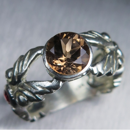 Natural Imperial topaz Silver/ Gold / Platinum engagement ring