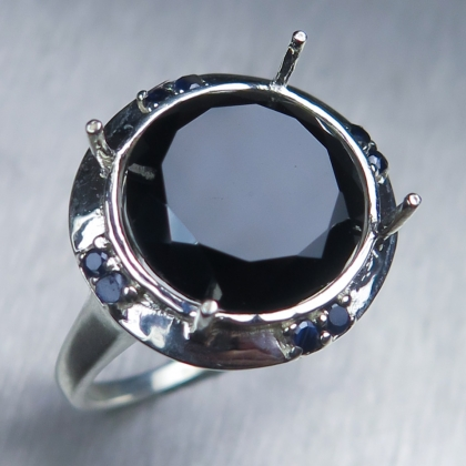 Natural Tektite Meteorite dark brown Silver/ Gold / Platinum ring