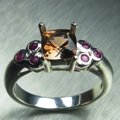 Natural Bi-colour Andalusite & sapphires Silver / Gold / Platinum ring