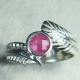 Natural Pink Spinel Silver/ Gold / Platinum feather engagement ring