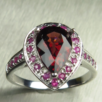 Natural Red Spessartine Spessartite Garnet Silver/Gold /Platinum ring