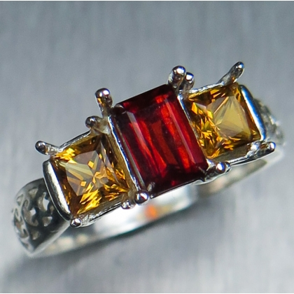 0.75ct Natural orange red Clinohumite Silver/ Gold / Platinum ring