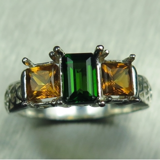 Natural green Chrome Diopside &Citrine..