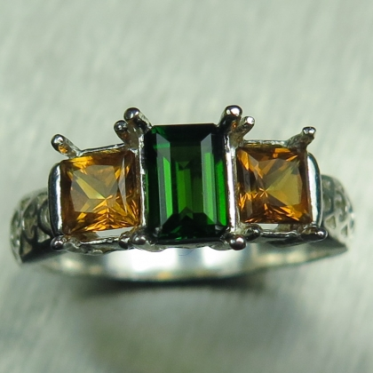 Natural green Chrome Diopside &Citrine 925 Silver/ Gold/ Platinum ring