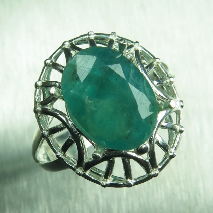 3.95ct Natural RARE grandidierite Blueish Green Silver/ Gold ring