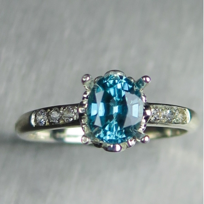1.25cts Natural Cambodian aqua blue zircon Sterling 925 Silver ring