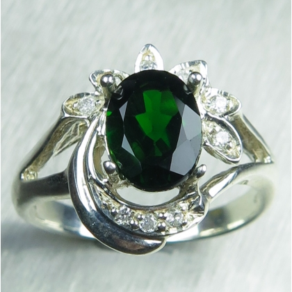 Natural green Chrome Diopside &topaz925 Silver/ Gold/ Platinum ring