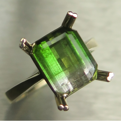 3.8ct Natural Watermelon tourmaline 9ct 375 yellow Gold ring