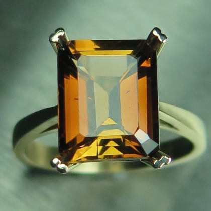 5.15ct Natural Imperial Topaz 9ct 375 yellow Gold engagement ring