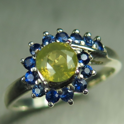 1.15ct Natural Chrysoberyl & sapphires Silver/ Gold / Platinum ring