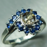 0.55ct Natural Axinite & sapphires Sil..