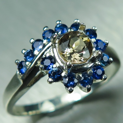 0.55ct Natural Axinite & sapphires Silver/ Gold / Platinum ring