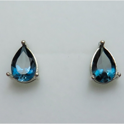 2.7ct Natural London blue Topaz Silver /Gold /Platinum stud earrings