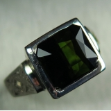 4ct Natural Dark Green Tourmaline Silv..