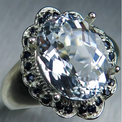 4.55cts Natural Goshenite Beryl aquamarine 925 sterling Silver ring