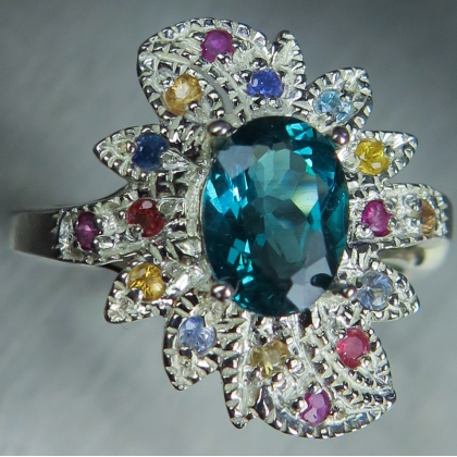 1.3cts Natural Paraiba blue Apatite Silver Gold Platinum ring