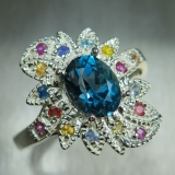 1.7cts Natural Topaz London Blue Silve..