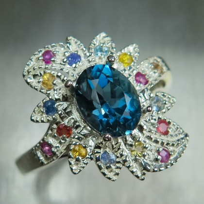 1.7cts Natural Topaz London Blue Silver Gold Platinum ring