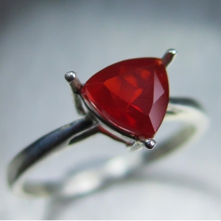 Natural Mexican Fire Opal Silver / Gol..