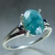 1.85ct Natural RARE grandidierite Blueish Green Silver/ Gold ring