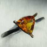 Rare Natural orange Clinohumite Silver..
