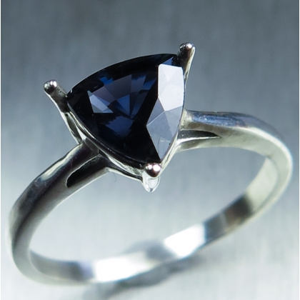 1.35ct Natural Spinel Midnight blue Silver/ Gold engagement ring