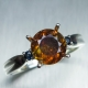 1.9ct Natural Sphalerite & sapphires Silver/ Gold / Platinum ring