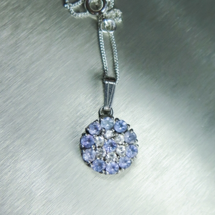 Natural tanzanite & sapphires 925 Sterling Silver pendant necklace