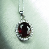 3ct Natural Red Rhodolite Garnet Silve..
