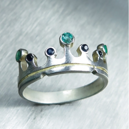 Natural Emerald & Sapphire Silver/ Gold wedding band unisex ring