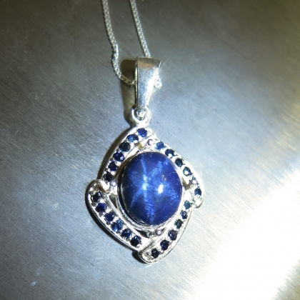 necklace sapphire p star white diamond in amp gold chain blue with pendant
