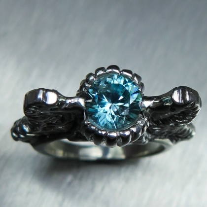 1.6ct Natural Cambodian Blue Zircon Silver /Gold seahorse unisex ring