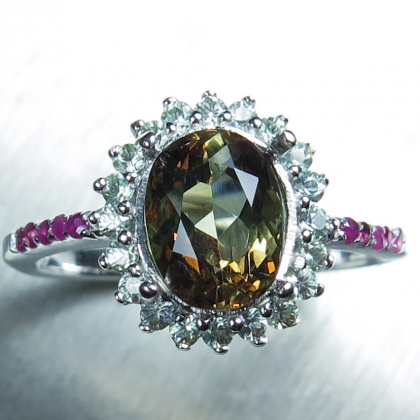 1.75ct Natural bi-colour Andalusite &sapphire 925 sterling silver ring