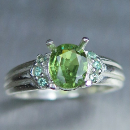 Natural Demantoid garnet & alexandrites Silver Gold Platinum ring