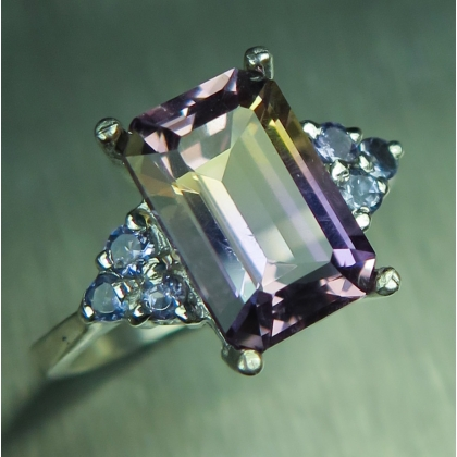 3.05ct Natural Bi-colour Ametrine &tanzanite Silver/ Gold/ ring