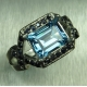 2.8ct Natural Swiss Blue Topaz Silver/ Gold/ Platinum art deco ring